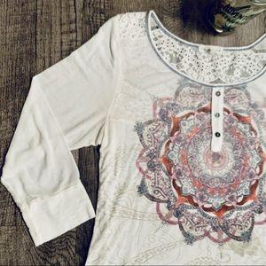 La Mamba Long Sleeve Top Size Large Lace Back